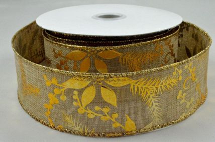 38mm & 63mm Wired Gold Christmas Burlap Floral Ribbon x 10 Metre Rolls!