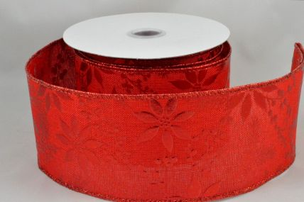 38mm & 63mm Wired Red Christmas Burlap Floral Ribbon x 10 Metre Rolls!