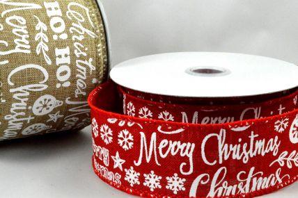 38mm & 63mm Merry Christmas & Snowflakes Burlap Ribbon x 10 Metre Rolls!