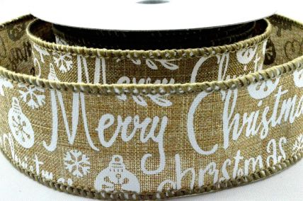 38mm & 63mm Natural Merry Christmas & Snowflakes Burlap Ribbon x 10 Metre Rolls!