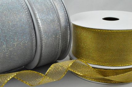 46044 - 10, 16, 25, 38 & 63mm Wired Coloured Mesh Ribbon x 10 Metre Rolls!