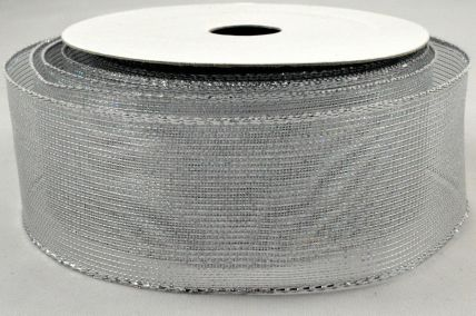 38mm Wired Silver Mesh Ribbon x 10 Metre Rolls!