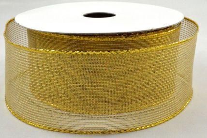 10mm, 16mm, 25mm, 38mm & 63mm Wired Gold Mesh Ribbon x 10 Metre Rolls!
