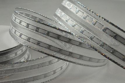 16mm Wired Silver Lurex Lined Ribbon x 10 Metre Rolls!