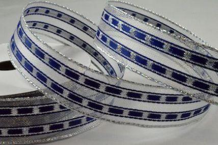 46045 - 16mm & 25mm Wired Blue Lurex Lined Ribbon x 10 Metre Rolls!