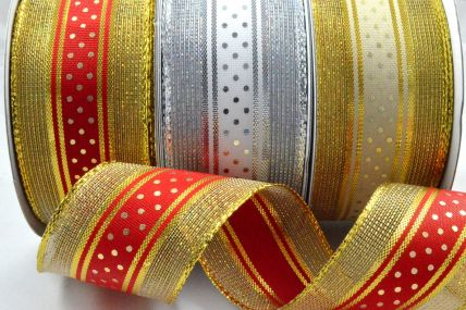 46046 - 38mm Wired Lurex Ribbon with Central Polka Dot Design x 10 Metre Rolls!
