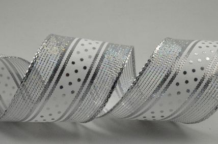 38mm Silver Wired Lurex Ribbon with Central Polka Dot Design x 10 Metre Rolls!