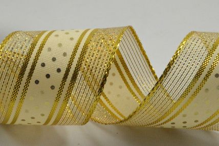 38mm Gold Wired Lurex Ribbon with Central Polka Dot Design x 10 Metre Rolls!