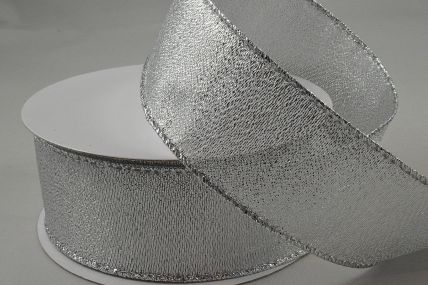 63mm Silver Wired Lurex Ribbon x 10 Metre Rolls!