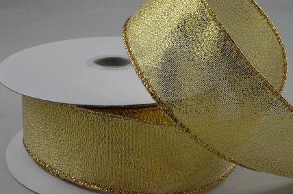 63mm Gold Wired Lurex Ribbon x 10 Metre Rolls!