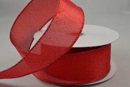 25mm Red Wired Lurex Ribbon x 10 Metre Rolls!