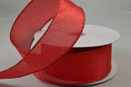 63mm Red Wired Lurex Ribbon x 10 Metre Rolls!