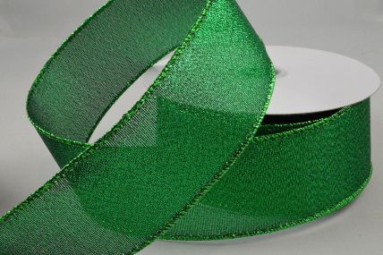 38mm Green Wired Lurex Ribbon x 10 Metre Rolls!