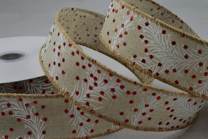 38mm Natural Christmas Berry Wired Ribbon x 10 Metre Rolls!