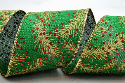 38mm Green Christmas Berry Wired Ribbon x 10 Metre Rolls!