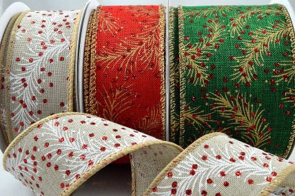 46048 - 30mm, 38mm & 63mm Christmas Berry Wired Ribbon x 10 Metre Rolls!