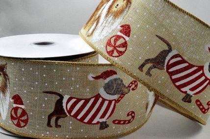 46050 - 63mm Wired Christmas Dog Ribbon x 10 Metre Rolls!