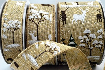 46051 - 30mm, 38mm & 63mm Wired Natural Snowflake & Reindeer Ribbon x 10 Metre Rolls!
