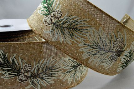 46052 - 63mm Wired Natural Snow Pine Covered Ribbon x 10 Metre Rolls!