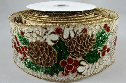 46053 - 63mm Jute Ivory ribbon with a wired lurex edge and Pine cone and berry design for Christmas x 10mts