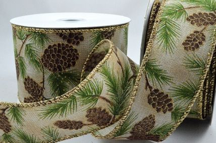 46054 - 38mm & 63mm Jute Natural ribbon with a wired lurex edge and Pine cone Christmas design with a hint of sparkle x 10mts!