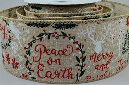 46055 - 63mm Jute Natural wire edge ribbon with a festive Christmas message with reindeers and trees x 10mts