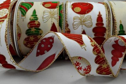 46056 - 38mm & 63mm Wired edge Christmas design ribbon with gold sparkly baubles and bows x 10mts!