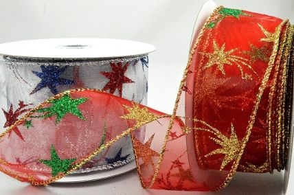 46057 - 38mm & 63mm Wired lurex edge sheer ribbon with a Sparkly Starry design for Christmas x 10mts!