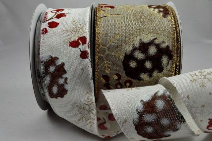 46058 - 38mm & 63mm Wired Lurex edge polyester ribbon with a Pine Cone and berry Christmas design and sparkly snowflakes x 10mts!