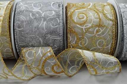 46059 - 38mm & 63mm Wired Lurex edge sheer ribbon with a Glittery and Sparkly Christmas swirl design x 10mts!