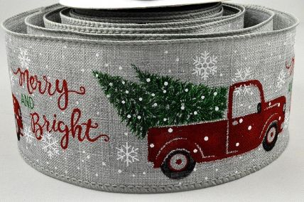 46060 - 63mm Ice Grey wired Jute ribbon with a colourful Christmas tree and car delivering your festive message x 10mts