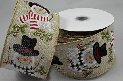 46061 - 63mm Natural wired edge Jute ribbon with a colourful and jolly snowman design with pine trees and snowflakes  x 10mts