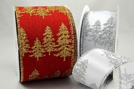 46062 - 38mm & 63mm Bright and Sparkly lurex wired edge ribbon with a Christmas tree wintery design x 10mts!