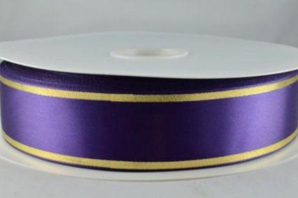 38mm Purple Satin Tramline Ribbon x 100 metre Rolls!!