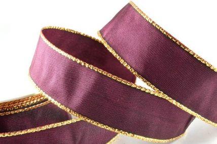 25mm Dark Purple Wired Ribbon with Lurex Edge x 25 Metre Rolls!