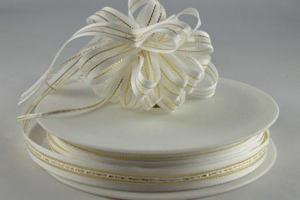 10mm Cream Fasbo Sheer Pull Bow Ribbon x 25 Metre Rolls!