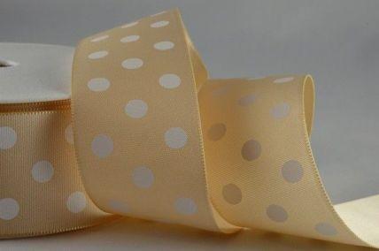 38mm Cream Polka Dot Ribbon x 20 Metre Rolls!