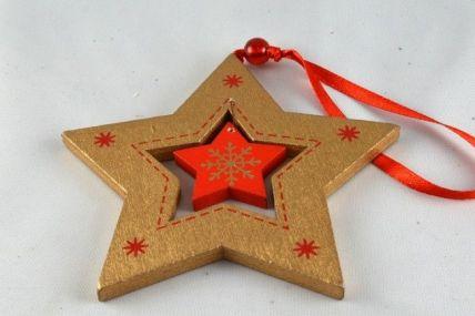 Gold Decorative Stars with Ribbon Loop x 1 Piece!