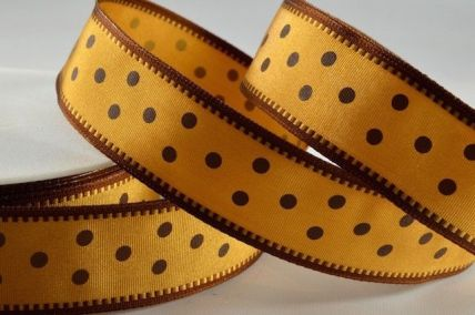 25mm Gold Wired Spotted Ribbon x 20 Metre Rolls!