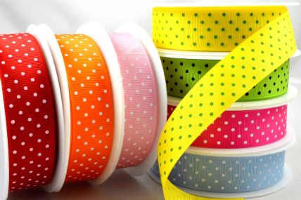 53759 - 22mm Spotted Grosgrain Ribbon x 20 Metres!
