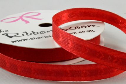 10mm Red Woven Hearts Ribbon x 5 Metre Rolls!