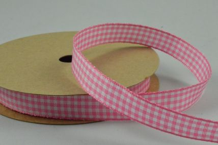 10mm Baby Pink Gingham Ribbon x 3 Metre Rolls!