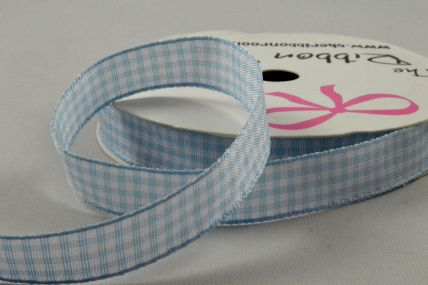 10mm Baby Blue Gingham Ribbon x 5 Metre Rolls!