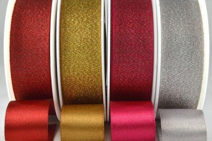54259 - 25mm Satin Glitter Ribbon x 20 Metre Rolls!