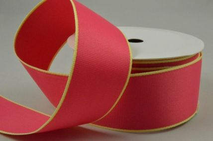35 Pink Ribbon with Yellow Edging x 4 Metre Rolls!