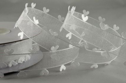 15mm White Heart Edged Ribbon x 10 Metre Rolls!!