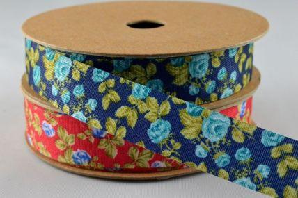 15mm Coloured Flower Print x 10 Metre Rolls!!