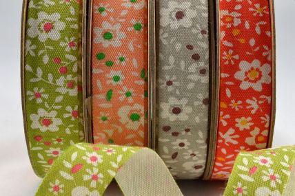15mm Coloured Floral Cotton Ribbon x 10 Metre Rolls!