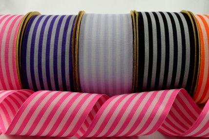 39mm Coloured Striped Ribbon x 10 Metre Rolls!!