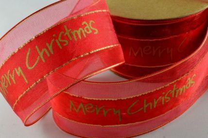 55025 - 38mm Red Merry Christmas Ribbon x 10 Metre Rolls!